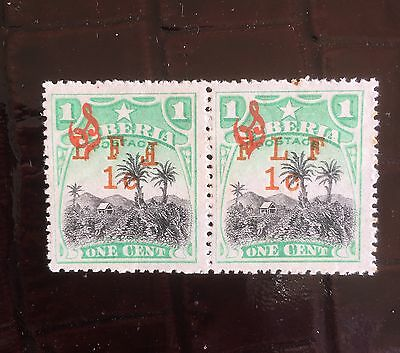 Liberia 1916 Military Mint Pair 1c Stamps FLF and Inv F M6a M6b With Gum