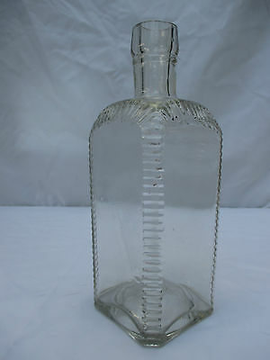 LARGE HEAVY RIBBED POISON BOTTLE c1920