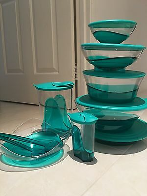 TUPPERWARE Green ELEGANT ILLUSIONS Set Of 8 RARE With Serving Spoon