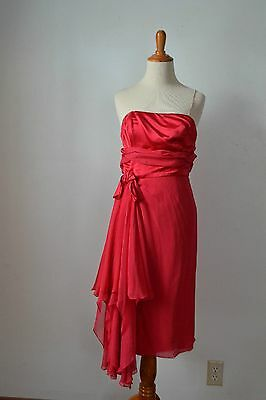 TRUE VINTAGE 1960s 60s 1950s 50s Cocktail Dress Red Costume Party Chiffon