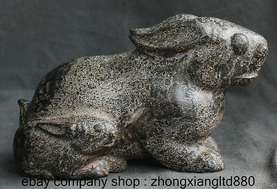 """7.2"""" Chinese Hongshan Cultural Old Jade Carved Zodiac Year Rabbit Animal Statue"""