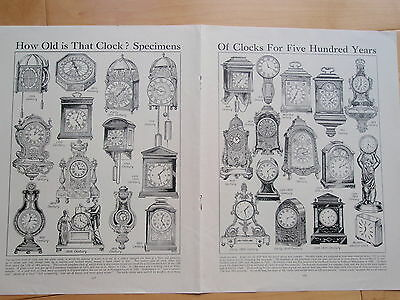 TYPES OF CLOCK old vintage double page print HISTORIC CARRIAGE PENDULUM