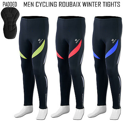 Mens Cycling Tights Winter Trouser Padded Coolmax Thermal Roubaix Cycle Leggings