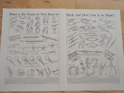 Types of KNOT old vintage retro print double page SCOUT GUIDE BOAT INTEREST