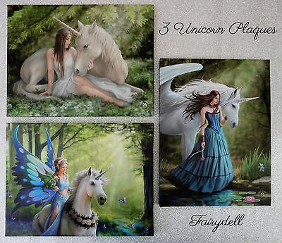 Set Of 3 Unicorn Wall Plaques ~ Anne Stokes Prints ~ Stunning!