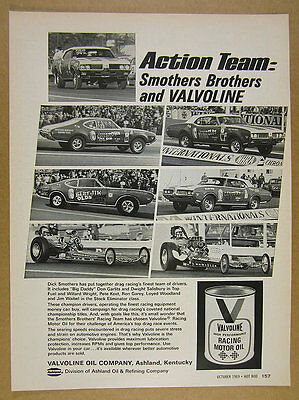 1969 Smothers Brothers Drag Racing Team cars photo Valvoline vintage print Ad