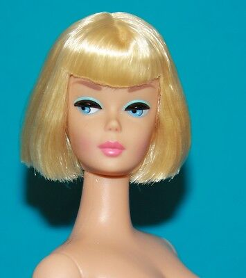 Vintage Barbie Reproduction NUDE Soft Platinum Blonde American Girl PINK LIPS