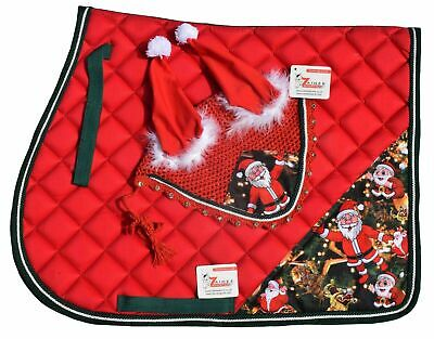 Santa Claus Christmas Horse Saddle Pad and Fly Veil Set