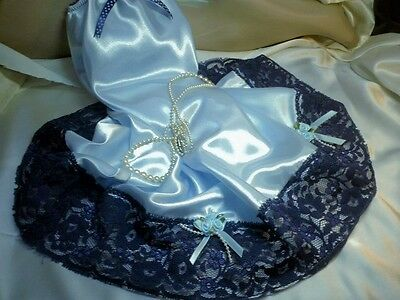 Blue Silk Satin Half Slip Petticoat Deep French Navy Lace Satin Pussy Bow &roses