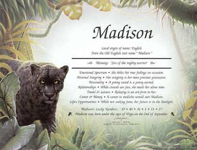 Black Panther Personalized Name Meaning Print