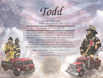 Firefighter Personalized Name Meaning Print