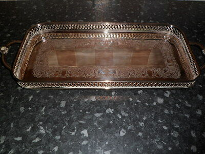 Lovely  Silver plated galley edged tray