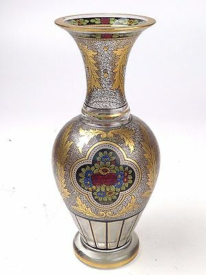 Antique Hand Painted Enamel Gold Trumpet Vase Crystal Glass Heavy 10inches