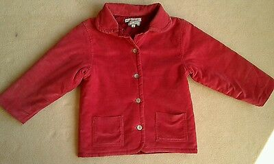 NEARLY NEW: Girls D'Arcy Brown pink corduroy padded jacket coat, aged 5 years