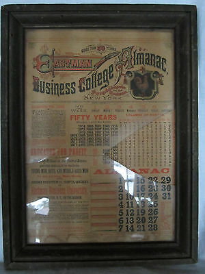 Antique Framed Almanac Eastman Business College Fifty Year  1850-1920  Rare Art