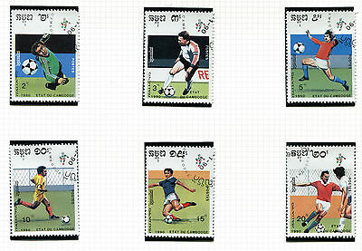 Cambodia 1990 Italy Football World Cup Set Of All 6 Commemorative Stamps Vfu