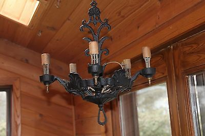 Vintage Gothic Hand Wrought Iron Wood Medieval Hanging Chandelier