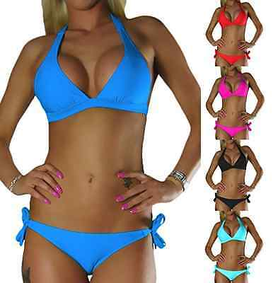DAMEN NECKHOLDER BIKINI PUSH UP SET TOP HOSE AUSWAHL FARBEN PUSHUP Gr. XS S M L