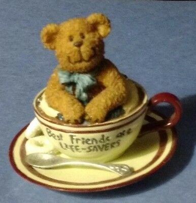 Boyds F.F. Teabearie 'Best Friends Are Lifesavers' Bear in Teacup Figurine
