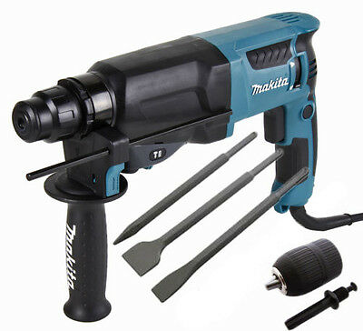 Makita HR2630 SDS+ 3 Mode Hammer Drill + Point + Chisels + Keyless Chuck 110V