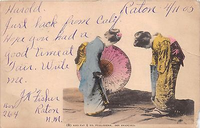 TWO ORIENTAL WOMEN BOW TO EACH OTHER~SING FAT PUBLISHED POSTCARD c1905 PSTMK