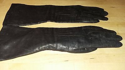 Vintage Black Leather Mid Length Gloves with Silk Lining - Small