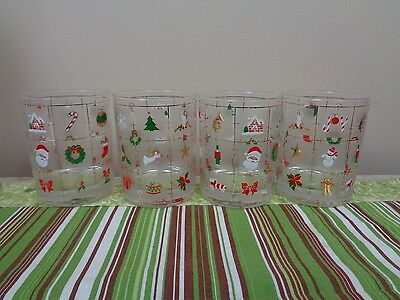 """4 Culver Christmas Potpourri Double Old Fashioned Glasses 4 1/4"""" EXC"""
