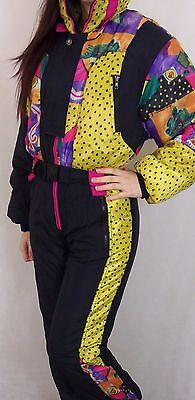 Vintage 80's 90's Womens All In One Neon Ski Suit XS