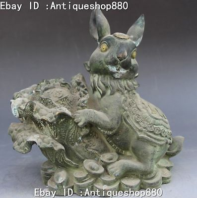"""9"""" Old Chinese Bronze Fengshui Cute Wealth Rabbit Hold Cabbage Yuan Bao Statue"""
