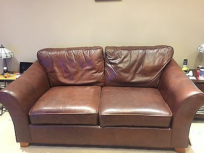 M&S Leather 3 Piece Suite - 3 Seater Sofa, 2 Armchairs, Footstool