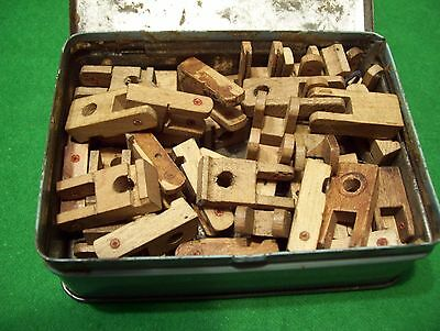 A box of 44 flanges of various types for repair of piano mechanism (c. 1950s)