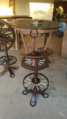 Wagon Wheel Pub set with tractor seat stools - OOAK - Glass top ~ PICK UP