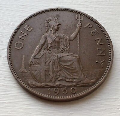 1950 1 Penny Great Britain Rare Key Date Coin Low Mint George VI Circulated EF?
