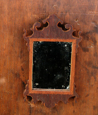 Miniature Chippendale Mirror 1800s Walnut Wood in Original Surface Patina