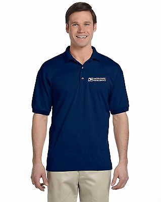 USPS POSTAL SPORT Navy Blue POLO SHIRT EMBROIDERED POSTAL LOGO ON CREST Sm-2XL