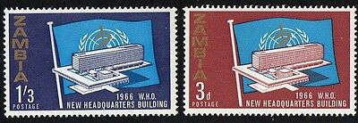 Zambia stamps. 1966 Inaguration of WHO Headquarters - Geneva, Switzerland. MH