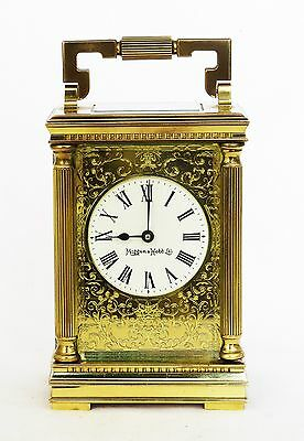 Mappin & Webb Gilt Brass Carriage Clock Filigree Face, Serviced