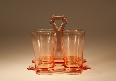 Vintage Cambridge Glass Company Pink Water Tumbler Set on Handled Caddy c.1930