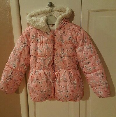 girls pink floral puffer coat  aged 6-7 years mothercare vgc