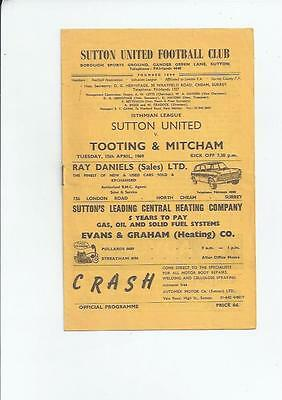 Sutton United v Tooting & Mitcham Football Programmes 1968/69