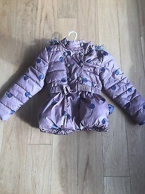 Girls Next Brown Black Polka Dot Padded Coat Parka Jacket Bow Belt 5-6