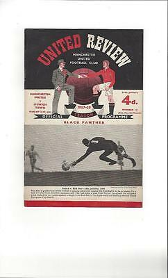 Manchester United v Ipswich Town FA Cup Football Programme 1957/58