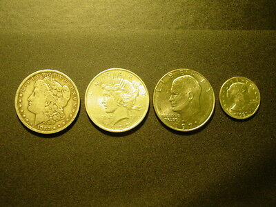 Lot Of (4) Different U.s. Dollar Coins, Morgan, Peace, Ike, Anthony