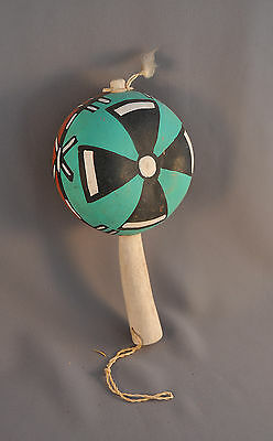 Hopi Ceremonial Dance Rattle - 4 Directions 2 Sided - Turquoise Sky - Red Earth