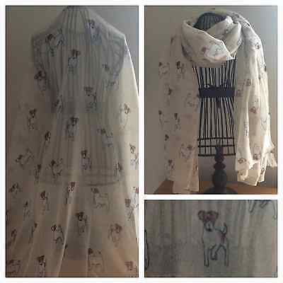 Jack Russell Terrier Dog Scarf Shawl Cream Large Ideal Xmas Gift