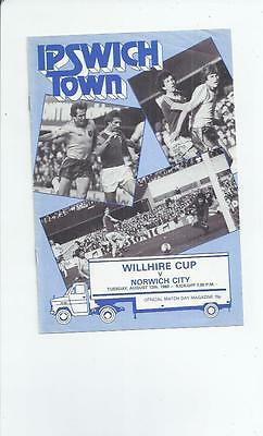 Ipswich Town v Norwich City Friendly Willhire Cup Football Programme 1980/81