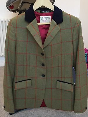 """Ladies 34"""" Mears Tweed Show Jacket, Red Over check"""