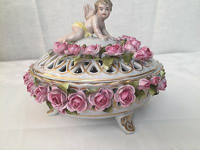 Old Germany porcelain cherub roses lace covered dish, centerpiece, vase AS IS.
