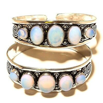 "Wholsale Lot !! 2 Pcs 925 Sterling Silver Plated Fire Opal Bangle / Cuff 7.5"" In"