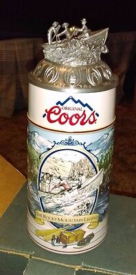 """Coors """"white Water Rafting"""" Stein With Lid - 1992"""